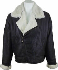 UNICORN Mens Sheepskin Cross Zip Jacket Brown With Cream Fur Leather Coat #CG