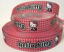 "GROSGRAIN HELLO KITTY PINK AND BLACK 7/8"" RIBBON 1, 3 or 5 YARDS"
