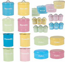 Tea Coffee Sugar Tin Canister For Storage Jar Pots Container Set Blue Pink Green