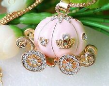 Betsey Johnson Crystal Pink white Pumpkin Carriage Pendant Necklace