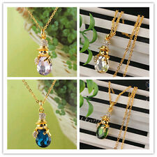 Hot Women 14K Gold Filled Austrian Crystal Snowman Pendant necklace In 6 Colors