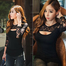 Hot Fashion Sexy Women Long Sleeve Lace Shirt Blouse Top Sexy T-shirt Plus Size