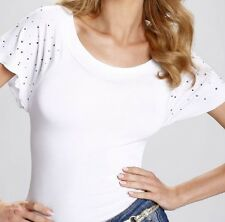 "White  Womens Girls  Top Blouse T-shirt  ""Ramona"" Short Sleeve  with Jewels"