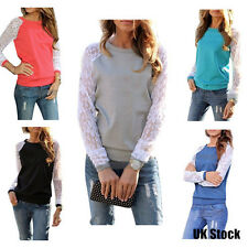 Womens Ladies Lace Crew Neck Splice Long Sleeve Tops T-shirt Blouse Size 8-16 UK