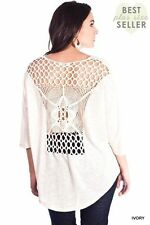 NEW Umgee Ivory Crochet Lace Back Loose Knit Sweater Blouse Top sz XL 1XL 2XL