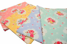 "Quilt Patchwork Half Yard Cotton Fabric 18x44"" Pastel Chic English Floral Rose"