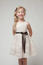 New Lace Flower Girls Dress Christmas Easter Pageant Party Junior Bridesmaid
