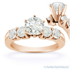 Forever Brilliant Round Cut Moissanite 5-Stone Engagement Ring in 14k Rose Gold