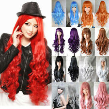 80cm Long Curly Wavy / Straight Cosplay Party Wig Full Head Hair Wigs Multicolor