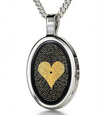 Silver Love Jewelry - Heart I Love You Necklace in 120 Languages on Black Onyx