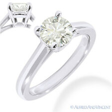 Round Brilliant Cut Moissanite 14k White Gold 4-Prong Solitaire Engagement Ring