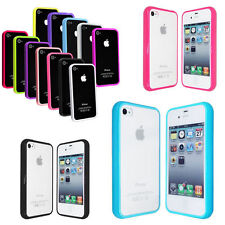 TPU Bumper Frame With Metal Button Case Cover for iPhone 4 4S
