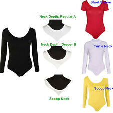 SEXY WOMEN LADIES LONG SLEEVE STRETCH BODYSUIT TOP SHIRTS LEOTARD