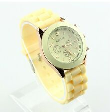 NEW Unisex Geneva Silicone Jelly Gel Quartz Analog Sports Wrist Watch beige