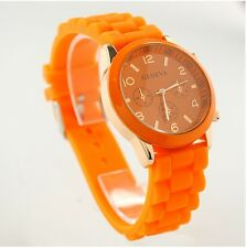 NEW Unisex Geneva Silicone Jelly Gel Quartz Analog Sports Wrist Watch orange