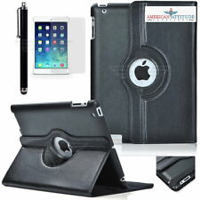 Premium 360 Rotating Leather Cover Case w/ Screen Protector Pen Fit iPad 2 3 4