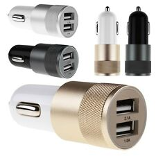 Aluminium Universal Twin Dual Port 2 USB In Car Socket Lighter Charger Adapter