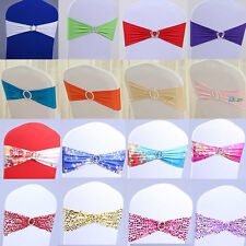 50 Pack Wedding Elastic Chair Cover Sashes Buckle Party Reception Banquet Decor