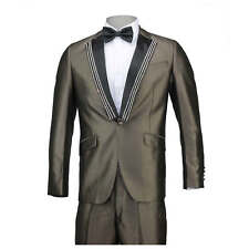 Mens Brown Shiny Stoned Slim Fit One Button Suit Notch Lapel Wedding Prom