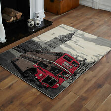 SMALL MEDIUM LARGE EXTRA LARGE LONDON BUS BIG BEN GREY CREAM  CHEAP SOFT RUGS
