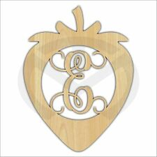 Unfinished Wood Strawberry Monogram Laser Cutout w/ Your Initial, Script