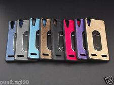Imported Dual Tone Soft Rubber Back Cover Case Metal Plate For Lenovo A6000 Plus
