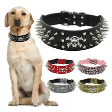 "2"" Wide Skull Spiked Studded Leather Dog Collars For Large Dogs Pitbull Staff XL"