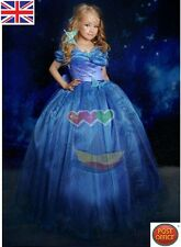 Cinderella 2015 Gown Girls Kid's Princess Blue Costume Butterfly bowknot Dress