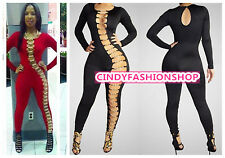 New Women Bandage Hollow Out Black Jumpsuit Bodycon Sexy Club Party Rompers