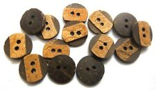 "DASH OF BROWN- 2 Hole COCONUT SHELL Button-Sewing Scrapbook- 13 mm(1/2"")-Size 20"