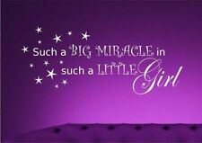 Girls Nursery Miracle Wall Sticker Quote Decal Transfer Mural Stencil Art Tattoo