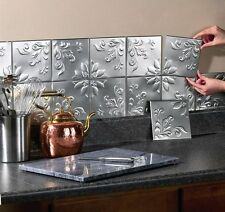 Decorative Wall Tiles Set of 16 Silver Peel and Stick Kitchen & Bathroom Decor