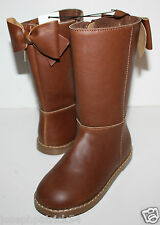 baby Gap NWT Girl's 6 7 8 9 10 Brown Boots - Faux Leather Riding Boots w/ Bow