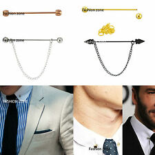 Mens Collar pins for collar shirts Black Gold Rose Gold Crystal Chain Bar Tie