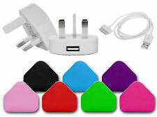 USB 3 PIN MAINS PLUG CHARGER DATA SYNC CABLE COMPATIBLE FOR iPHONES 3GS 4G 4S UK