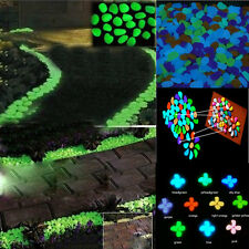 100pcs Glow in the Dark Pebbles Stones Walkway Fish Tank Parterre Garden Decor