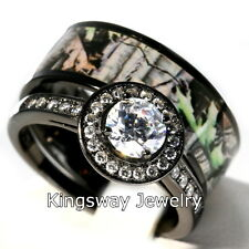 Hers 2 piece Titanium Camo 925 STERLING SILVER Engagement Wedding Rings Set