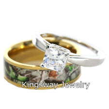 Hers 2 pc Titanium Camo 925 STERLING SILVER Engagement Wedding Rings Set