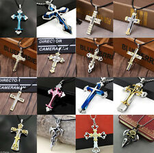 Hot Stainless Steel Unisex's Men Women  Silver Cross Pendant Necklace Chain Gift