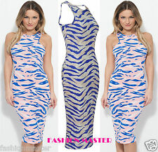 WOMENS LADIES CELEBS SAM FAIERS TIE DYE ZEBRA STRIPE MAXI LONG MIDI DRESS 8-14
