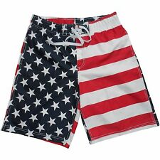 Mens American Flag Swim Trunks USA New Board Shorts Swimsuit Beach Week S M L XL