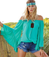 ELAN OFF SHOULDER RUFFLE 3/4 SLEEVE TOP BLOUSE TUNIC ONE SIZE -JADE
