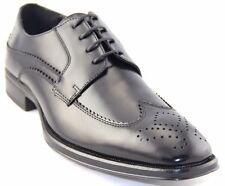 La Milano Men's Black Leather Wing Tip Shoes Style#A1710