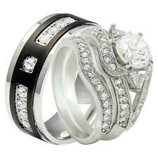 Couple Hers 925 Sterling Silver His Black Titanium 3 Pcs Wedding Ring Band Set