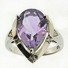 925 Sterling Silver 2.25 Ct Natural Purple Amethyst & White CZ Ring