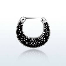 16g (1.2mm) Surgical Steel Vintage Dotted Pattern Septum Clicker Nose Bull Ring