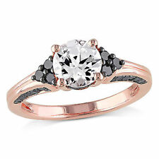 Amour Pink Silver Created White Sapphire and 3/8 Ct TDW Black Diamond Ring