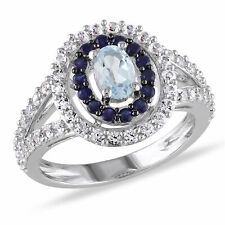 Amour Sterling Silver Topaz and Sapphire Cocktail Ring