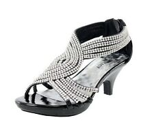 Brand New Women's Fashion Sexy Med Heel Rhinestone Strappy Party Dress Sandals