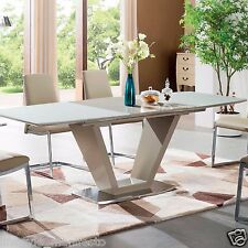 NEW 5-7 PIECE MODERN LARGE GLASS DINING ROOM SET EXTENDABLE TABLE BEIGE CHAIRS